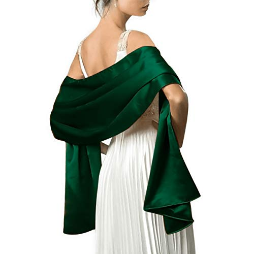"""Satin Shawls and Wraps for Evening Dresses Bridal Party Special Occasion by Lansitina, Dark Green, 95""""L 26""""W"""