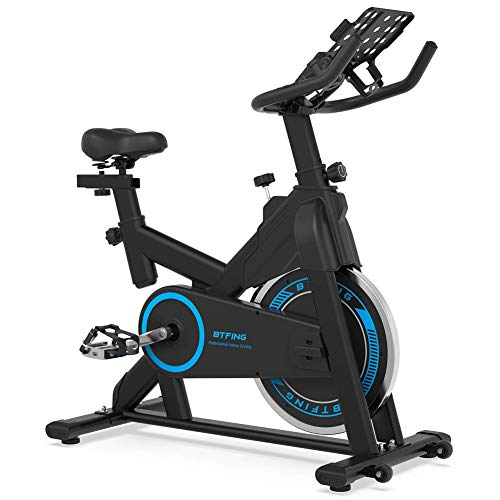 "BTFING Indoor Exercise Spinning Bike Stationary, Cycle Spin Bike with 35lbs Flywheel Phone Holder & 3.6"" LCD Monitor for Home Gym & Workout Equipment"