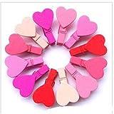 BlackUdragon Pequeño Kawaii Corazón Amor Ropa de Madera Foto Papel Pin Pinzas de Ropa Artesanía Postal Clips Decoración Hogar Boda