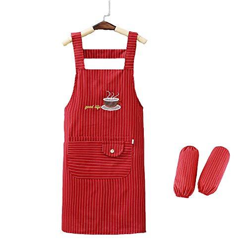 ZHAOZCL Verstellbare Küchenschürze, wasserdichte Schürze, mit Taschen und Zwei Ärmeln, für Wohnküche, Restaurant, Backengarten-BBQ (rot)