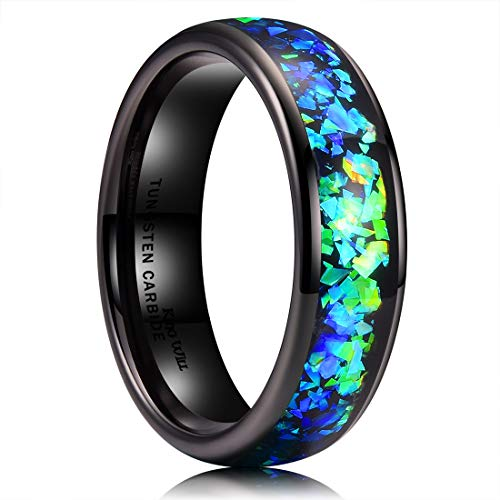 King Will Mens 6mm Black Tungsten Carbide Wedding Ring Shining Blue-Green Fragments Engagement Band 7