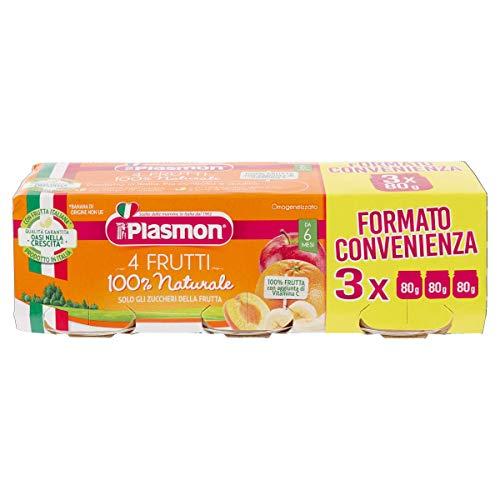 Plasmon Omogeneizzato di Frutta, 4 Frutti - 24 Vasetti da 80 gr