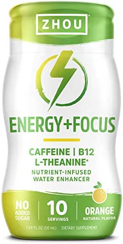 Zhou Energy Focus Water Enhancer Caffeine B12 L Theanine Nutrient Infused 1 69 fl oz 10 Servings product image