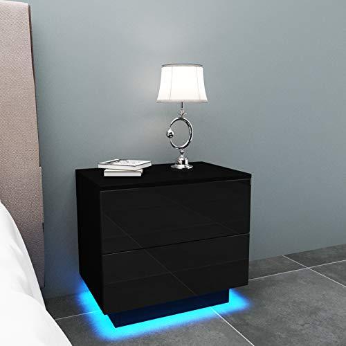 YOLEO Comodino Nero Lucido con LED (55x37x50 cm) / 2 Frontale Cassettiera in Truciolare - Illuminazione a LED - per Camera da Letto, Nero Brillante