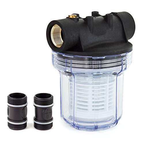 """Grafner Vorfilter für Hauswasserwerke und Gartenpumpen, mit Filtereinsatz, platzsparende Ausführung, 1"""" IG und 2x 1"""" AG Adapter, 5,5 bar, 6000 l/h, Filter Pumpe"""
