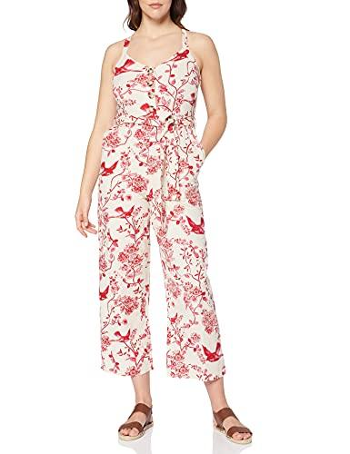 Amazon-Marke: find. Damen Ärmelloser Sommer-Jumpsuit aus Leinen, Rot (Red), 34, Label: XS