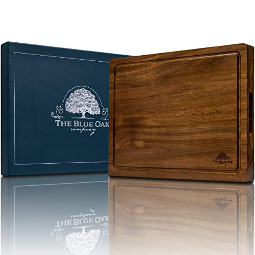 THE BLUE OAK COMPANY Premium Acacia Wood Large Reversible Cutting Board with Juice Groove Cracker Holder  Chopping Board  Charcuterie Board  Cheese Board