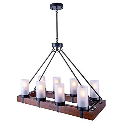 OYI Vintage Industrial Kitchen Island Light, 8 Lights Retro Pendant Light Fixture Rectangular Wood Frame Metal Hanging Chandeliers Ceiling Light Luminaire