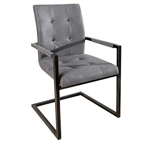 Invicta Interior Design Freischwinger Stuhl Oxford mit Armlehne Antik Grau Vintage Gestell Eisen Schwarz Armlehnenstuhl Freischwingerstuhl Esszimmerstuhl Esszimmer