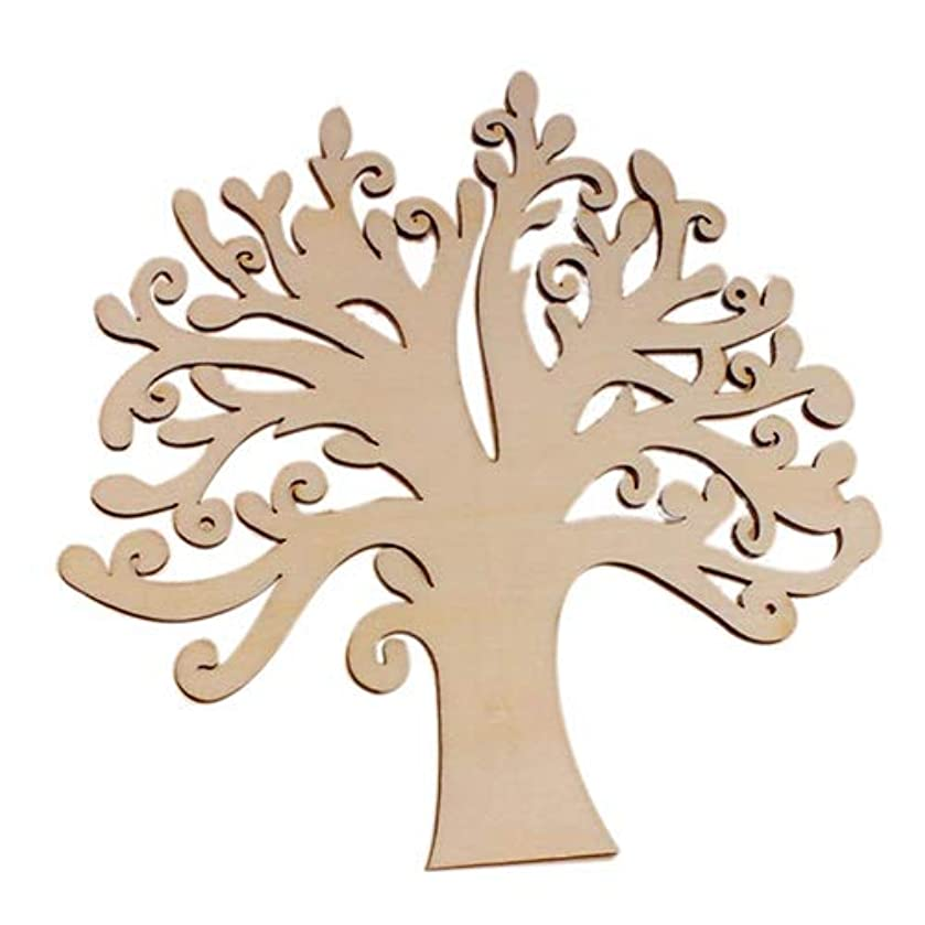 tianxiangjiaju Wood Tree Shape Message Book Craft Wedding Birthday Graduation Season Decoration