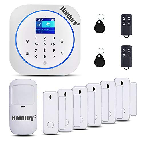 App Controlled 2.4Ghz WiFi 2G GSM Home Security Alarm System DIY Kit Auto Dial for Home Security Office Apartment No Monthly Fee 1 PIR Motion Sensor 6 Door Contacts 2 Remote Controller 2 RFID Tags