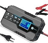 Cargador de Batería Coche Moto 12V 8A /24V 4A Inteligente Mantenimiento de batería con LCD táctil para Automóviles Motocicletas ATVs RVs