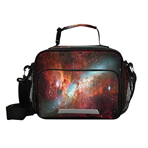 Hunihuni - Bolsa térmica para almuerzo, diseño de galaxia, a prueba de fugas, aislante para el almuerzo, con correa de hombro extraíble para escuela, oficina, viajes, pícnic