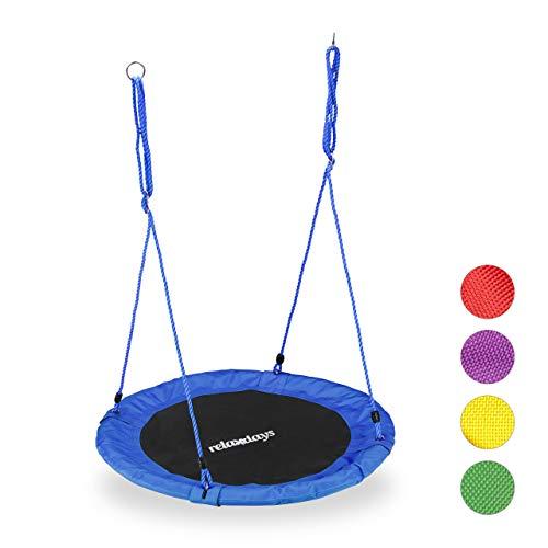 Relaxdays Columpio Jardín Nido de Altura Ajustable para Niños y Adultos, hasta 100 kg, Azul, ø 90 cm, Juventud Unisex