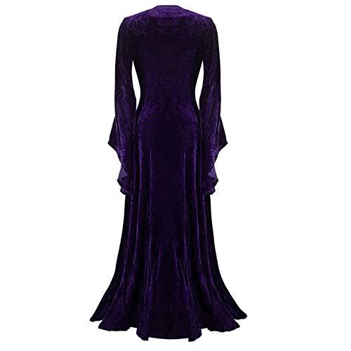 Medieval Dress for Women Vintage Long Sleeve Petticoat Tether Skirt Floor Length Dress Elegant Underdress Purple