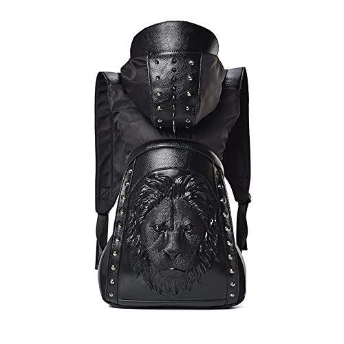 Kaper Go Mochila con capucha con diseño de cabeza de león negro, 35 x 12 x 50 cm