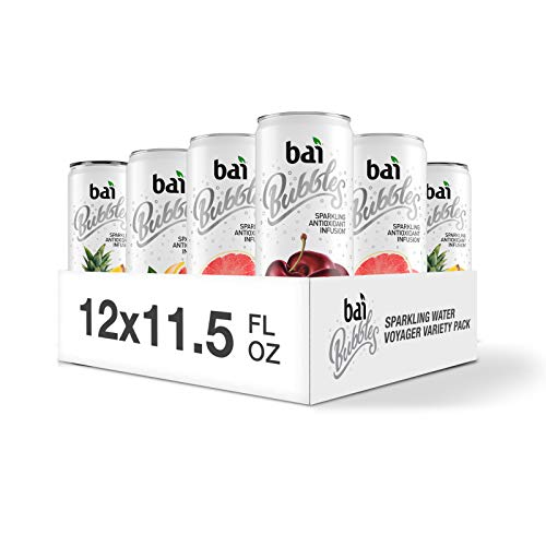 Bai Bubbles Sparkling Water, Voyager Variety Pack, Antioxidant Infused, 11.5 Fl. Oz Can, 12 count, 3 each of Bolivia Black Cherry, Gimbi Pink Grapefruit, Peru Pineapple, Jamaica Blood Orange