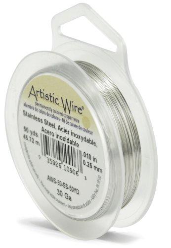 Artistic Wire, 30 Gauge Craft Wire, Stainless Steel, 50 yd (45.7 m) Basteldraht, Glänzender Stahl