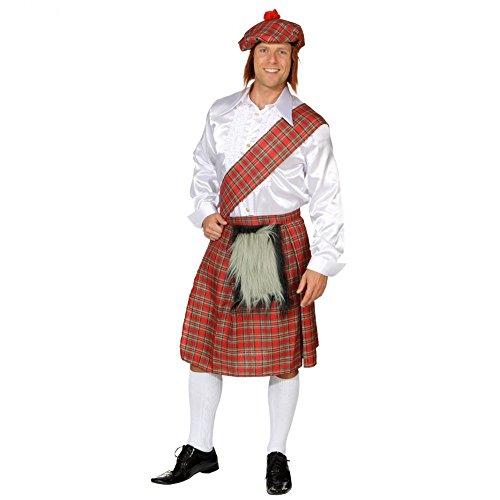 Krause & Sohn Schotten-Set 3-TLG Schottenrock Schärpe Mütze Kostüm Schotte Fasching Schottland