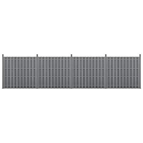 [neu.holz] WPC Schuttingpaneel 11 planken met palen 185x747 cm grijs