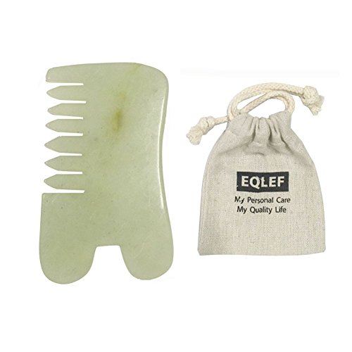 EQLEF® Jade Gua Sha Scraping Massage Tool Jade Guasha Comb SPA Acupuncture Therapy Trigger Point Treatment on Face Arm Foot (B)
