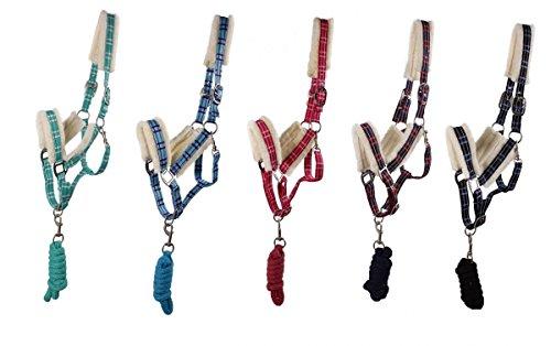 ARBO-INOX Halfter Set mit Strick kariert Kunstfell 5 Farben 4 Größen Größe Pony, Farbe türkis