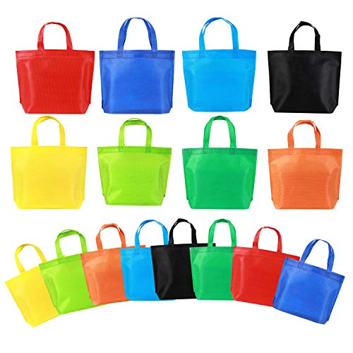 """Reusable Party Tote Bags,Non-Woven Rainbow Bags,For Birthday Favors, Snacks,Toys,16 Piece 13"""" 8 Colors"""