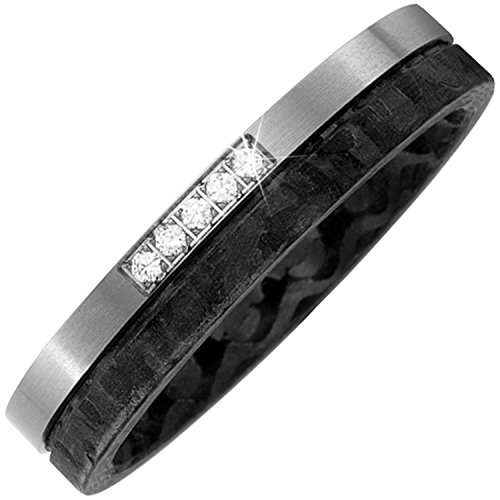 JOBO Partner Ring Carbon mit Titan 5 Diamanten Brillanten Partnerring bicolor Größe 58