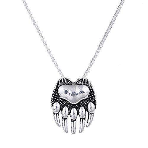 pyongjie Collar de Pata de Oso para Amantes de los Perros, Collares de Mujer, Colgantes, joyería de Plata, Gargantilla con Encanto en Ambos Lados, Regalo conmemorativo