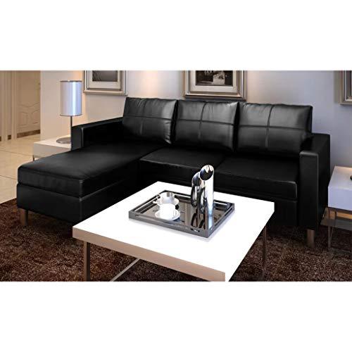 UnfadeMemory Sofá de 3 Plazas con Chaise Longe,Sofá de Salon,Decoración de Hogar,Cojines y Tapicería de Piel Sintética,188x122x77cm (Negro)