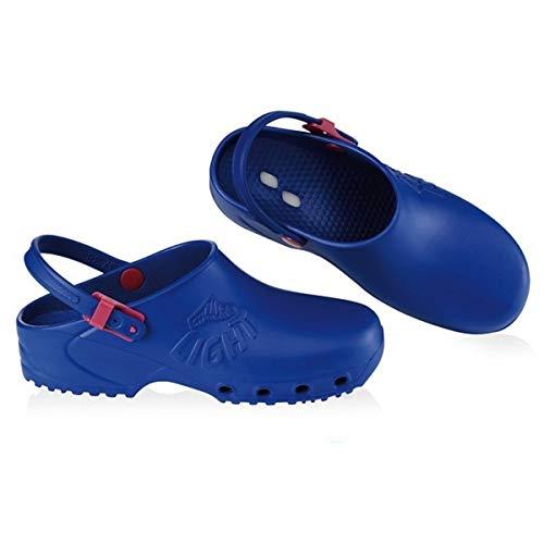 Zuecos profesionales sanitarios Calzuro, ligeros, con marcado CE, colores blanco, verde, lila, rosa, naranja, azul, negro Azul Size: 37 EU
