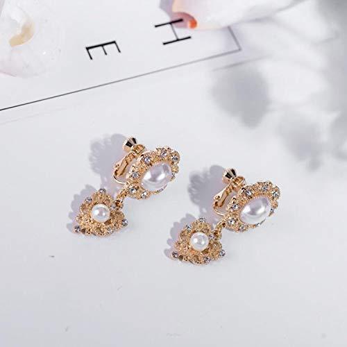 YangJinShan Aleación de la Flor Pendientes de la Vendimia Falsa Perla Pendientes for Las Mujeres (Color : Clip Earring)