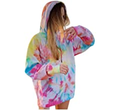 Women's 3D Tie Dye Printed Sweatshirts Hoodies Autumn Casual Oversized Long Sleeve Hooded Pullover Jumpers Tops for Ladies Girls Plus Size XXL