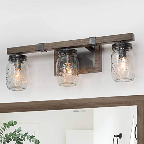 "Bathroom Vanity Light Fixtures, Farmhouse Mason Jar Lights, Rustic Bathroom Light Fixtures with Faux Wood Finish, Brown (20"" L×5.5"" W×7""H)"
