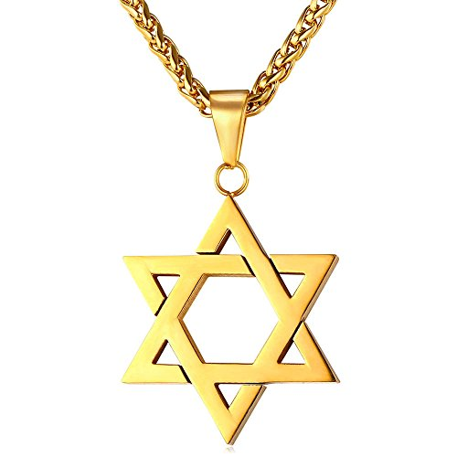 U7 Collier Homme Plaqué Or Pendentif Étoile de David avec Chaîne Ajustable 3mm de Large Bijoux Religieux pour Garçon (Doré)