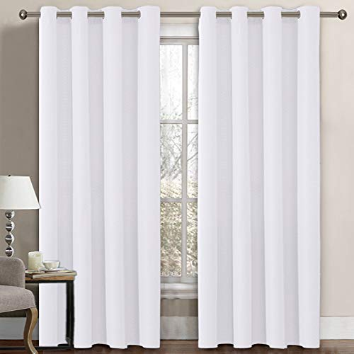 Linen Blackout Curtain 84 Inches Long for Bedroom / Living Room Thermal Insulated Grommet Linen Look Curtain Drapes Primitive Textured Burlab Effect Window Drapes 1 Panel - Pure White