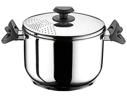 ADHW Stainless Steel Stockpot Pasta Spaghetti Pot Locking Strainer Lid Induction Base