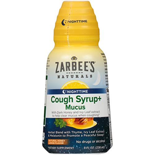 Zarbee's Naturals Cough Syrup + Mucus Nighttime with Melatonin, Natural Honey Lemon Flavor, 8 Ounce Bottle