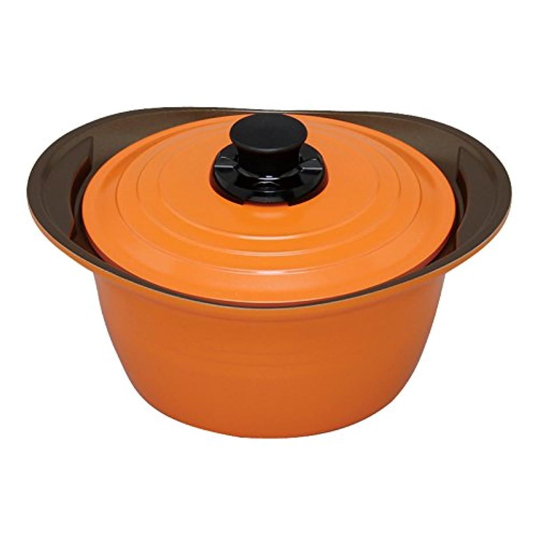 ねばねば強います干渉アイリスオーヤマ 両手鍋 無加水鍋 24cm 深型 IH対応 オレンジ MKS-P24D