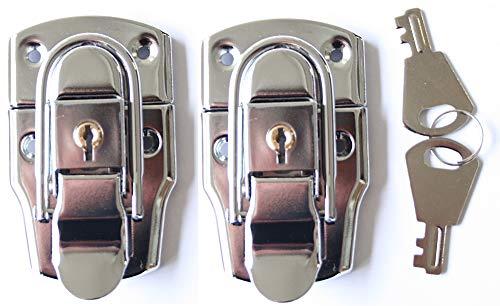 2x Koffer Verschluss groß mit Schlüssel Schnappschloss Catch Latch Hebel Kiste