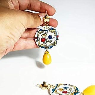 orecchini in ceramica, ceramica di caltagirone, orecchini siciliani, decoro vietrese, pietra goccia agata celeste