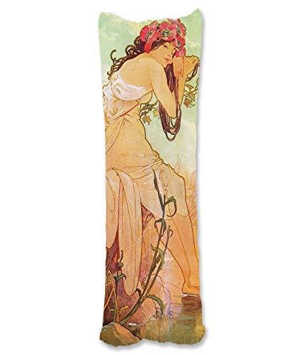 BONNIU Funda Decorativa Cojin con Cremallera 50X135 cm Protectores Almohada Terciopelo Mujer Vintage Dakimakura Cover - Mucha - Verano 1896