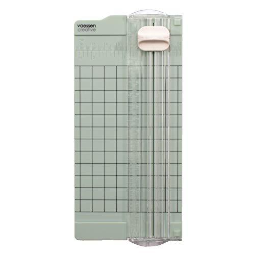 Vaessen Creative 2137-062 Mini Papierschneider Mintgrün, 6,5 x 15,3 cm, Kleine Papierschneidemaschine mit Angaben in Zentimeter und Zoll zum Basteln mit Papier, 6,5x15,3cm