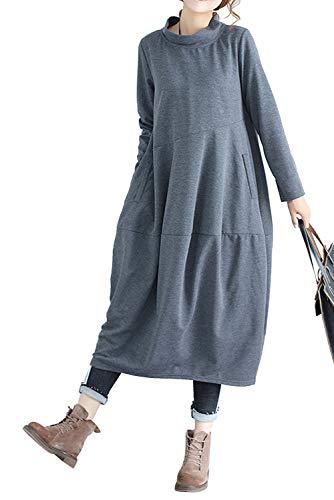 Vestito Oversize Donna Elegante Retro Abito Lungo Autunno Inverno Basic Jersey Vestiti Taglie Comode Maniche Lunghe con Tasche Maxi Vestitini Larghi da Cerimonia Casual Ufficio Moda Abiti Tinta Unita