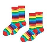 Calcetines de rayas arcoíris (2 paquetes) para fiesta de adultos unisex