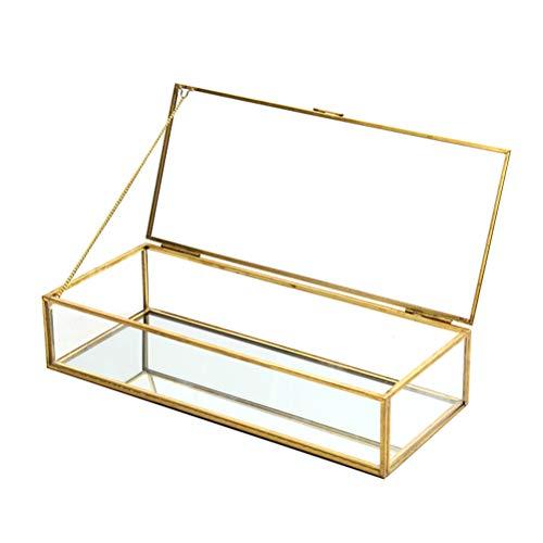 Holibanna Organisateur de Bijoux Cube Verre Bague géométrique Affichage boîte rétro Stockage Suspendu Porte-Cadeau Vintage doré