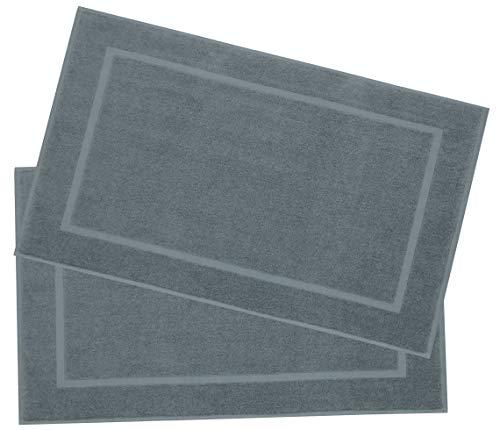 ZOLLNER 2 tappetini Bagno, 100% Cotone, 50x80 cm, Grigio, Altri Colori