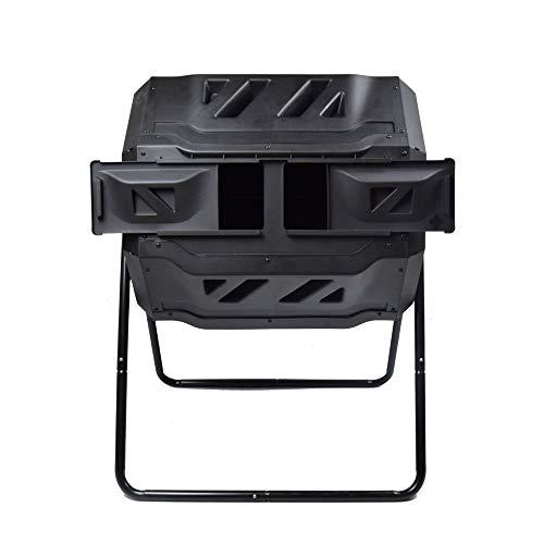 SQUEEZE master Doppel Kammer Kompost Tumbler Bin, Bessere Luftzirkulation Effizienter Kompost,Rotierender Tumbling Komposter Bin für Garten, 160L Schwarz