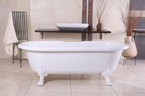 Casa Padrino Freistehende Badewanne Jugendstil Milano Weiß/Weiß - Barock Badezimmer Badewanne...