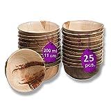 Waipur Hoja de Palma Cuencos Orgánicos - 25 Cuencos Desechables Aperitivos 11 cm/ 200 ml - Vajillas Desechables de Lujo, Estable, Natural y Biodegradable - Vasos para Postres
